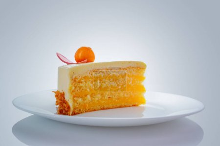 Photo for Chocolate cake with physalis fruits, cream, nuts and mousse - Royalty Free Image