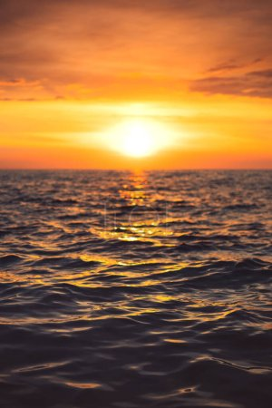 Photo for Sea sunset.  Ocean Ripples waves as water texture background - Royalty Free Image