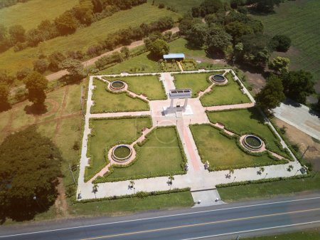 Green park aerial view from drone. Ruben Dario par...