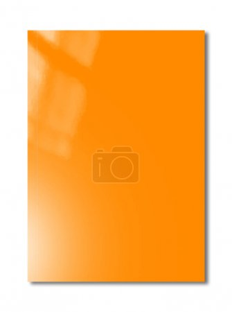 Photo for Orange booklet cover isolated on white background, mockup template - Royalty Free Image
