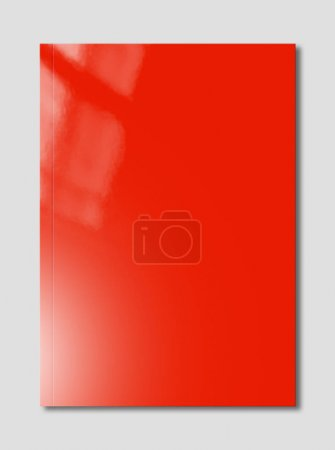 Photo for Red booklet cover isolated on grey background, mockup template - Royalty Free Image