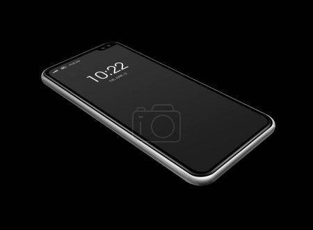 Photo pour Modèle de smartphone vierge numérique tout écran isolé sur noir avec affichage de l'horloge. rendu 3D - image libre de droit