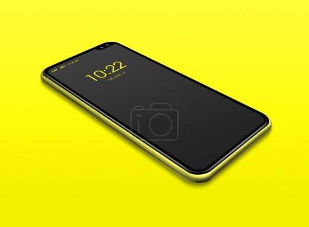 Photo pour Modèle numérique tout écran noir isolé sur jaune. rendu 3D - image libre de droit