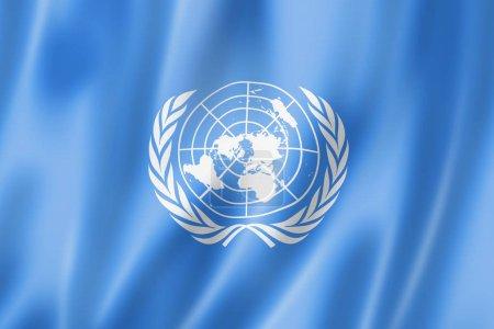 Photo pour Organisation des Nations Unies agitant le drapeau. Illustration 3D - image libre de droit