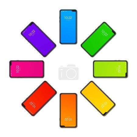Photo pour Smartphone Arc-en-ciel coloré en forme de cercle. isolé sur fond blanc. d) Rendre - image libre de droit
