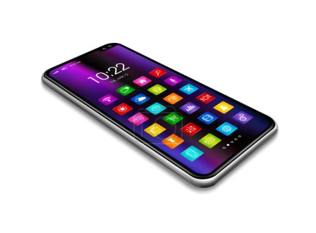 Photo pour Tout écran numérique smartphone réaliste avec icône colorée mis isolé sur blanc. Vue perspective rendu 3D - image libre de droit