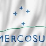 Mercosur flag, Southern Common Market. 3D illustra...