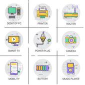 Sada ikon mobilita moderní chytrý tiskárna kamera Tv Player