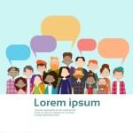 People Group Chat Bubble Communication Mix Race Cr...