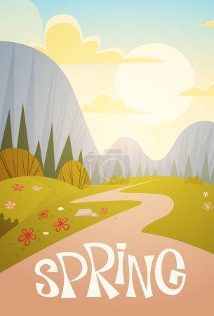 Illustration pour Chaîne de montagnes Printemps Paysage Pays Route Nature Fond Plat vectoriel Illustration - image libre de droit