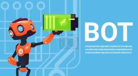 Illustration pour Batterie de maintien de bot de chat, élément d'assistance virtuelle de robot de site Web ou applications mobiles, illustration vectorielle plate de concept d'intelligence artificielle - image libre de droit