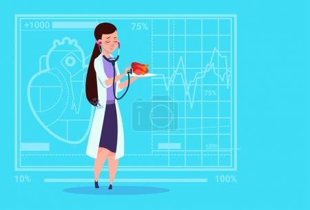 Female Doctor Cardiologist Examining Heart
