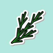 Fennel Sticker On Blue Background Colorful Vegetable Icon Vector Illustration