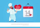 Male Cook Holding Cake For Happy Valentines Day Celebration 14 February Love Holiday Concept