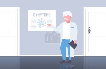 Photo for Doctor pointing at medical board with coronavirus symptoms epidemic MERS-CoV virus wuhan 2019-nCoV hospital office interior horizontal full length vector illustration - Royalty Free Image