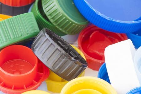 Photo for Colorful plastic bottle caps closeup, recycled garbage - Royalty Free Image