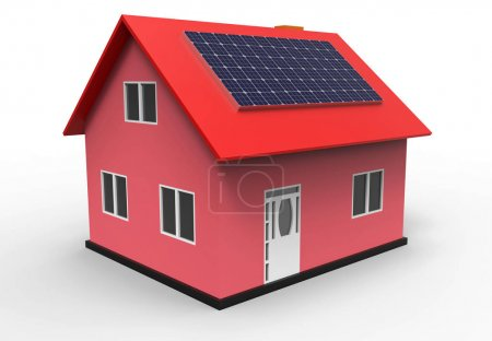 House with solar panel, 3d rendering