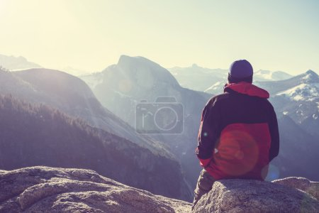 Photo for Hike in Yosemite mountains in winter - Royalty Free Image