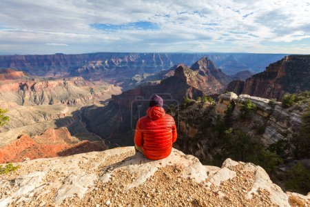 Photo for Man hiker travel, nature landscape - Royalty Free Image