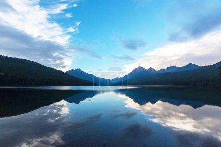 Beautiful Bowman lake with reflection