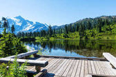 Scenic Picture lake with mount Shuksan