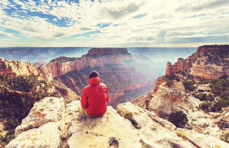 Photo for Man in Hike in Grand Canyon National Park - Royalty Free Image