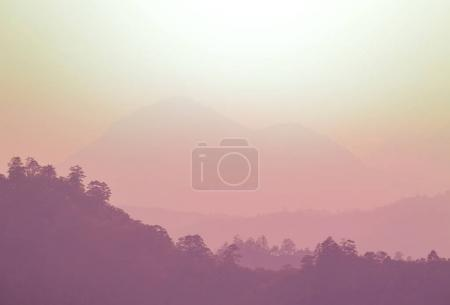 Mountain silhouette at sunset