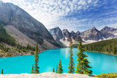 Beautiful turquoise waters of the Moraine lake