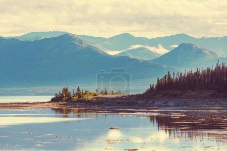 Serene scene by the mountain lake in Canada