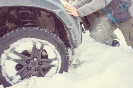 car got stuck in snow