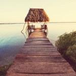 Sunset scene at the lake Peten Itza, Guatemala. Ce...