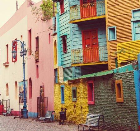 Bright colors of Caminito in La Boca neighborhood of Buenos Aires
