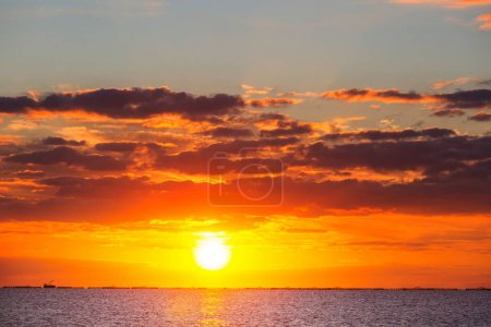 Photo for Scenic colorful sunset at the sea coast. Good for wallpaper or background image. - Royalty Free Image
