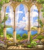 "Постер, картина, фотообои ""Old stone arch view the sea. Flowers. Wisteria. """