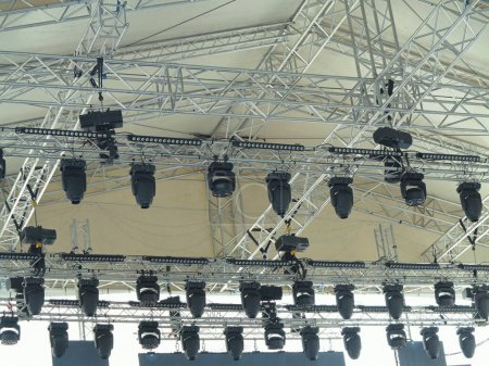 Photo for Structures of stage illumination spotlights equipment and speakers - Royalty Free Image