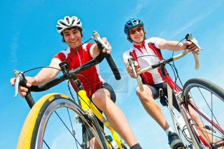 Cyclists on racing bikes