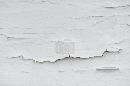 Photo for Cracked white paint on plank surface, abstract wooden background - Royalty Free Image