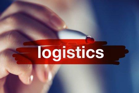 Photo pour Concept de logistique d'entreprise, gestionnaire féminin soulignant le terme - image libre de droit