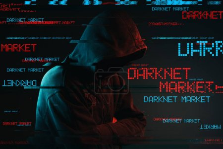 Photo for Darknet market concept with faceless hooded male person, low key red and blue lit image and digital glitch effect - Royalty Free Image