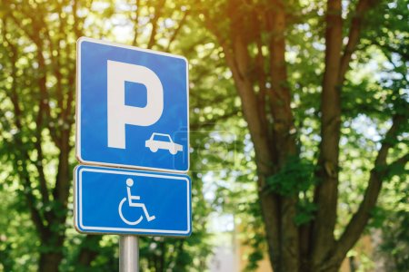 Photo for Handicap parking spot sign, reserved lot space for disabled person, selective focus - Royalty Free Image