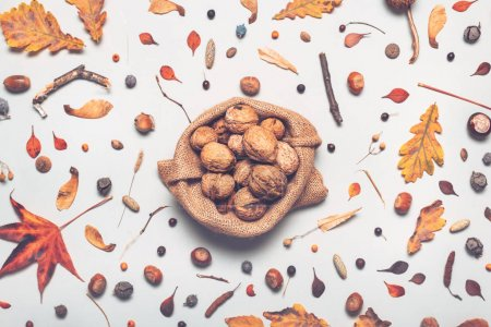 Photo for Walnut heap in burlap sack with autumn decoration, flat lay top view - Royalty Free Image