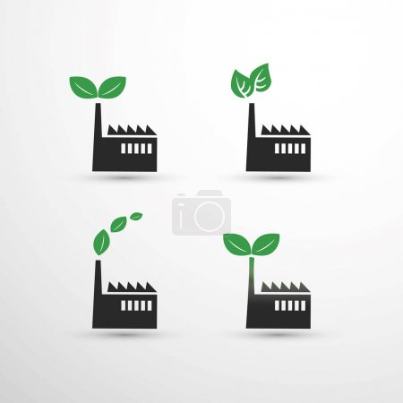 Global Warming, Ecological Problems And Solutions - Renewable Energy Concept, Factory Icon Designs