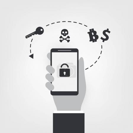 Locked Mobile Device, Valuable Business Data Lost, Ransomware Attack - Virus Infection, Malware, Fraud, Spam, Phishing, Email Scam, Hacking - IT Security Concept Design