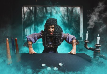 Angry sorceress in blue smoke...