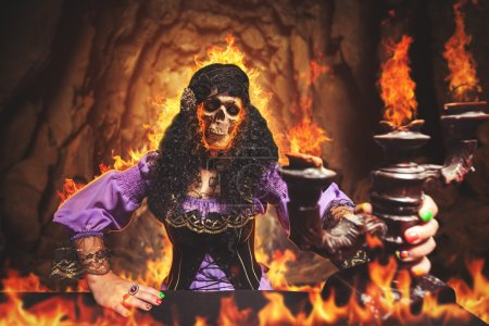 Sorceress burning away, she has skull instead of h...