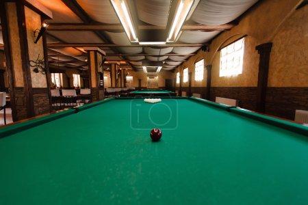 Billiard table with balls