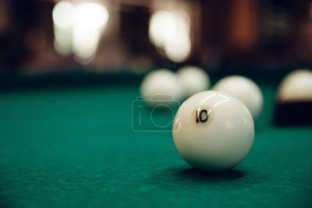 Billiard balls on green table