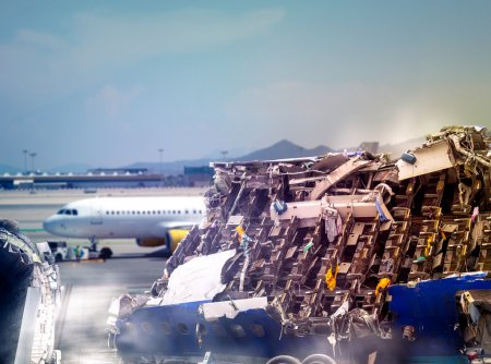Photo for Close up of plane ruins in airport - Royalty Free Image