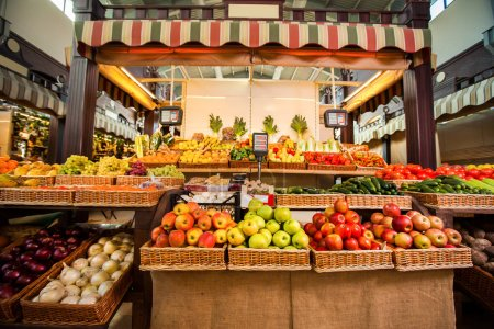 Counter with fresh fruits and vegetables