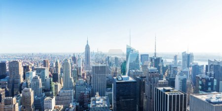 Photo for Manhattan downtown skyline with skyscrapers, cityscape panorama, New York City, USA - Royalty Free Image